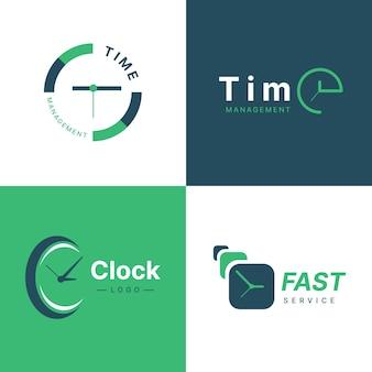 Platte tijd logo sjabloonverzameling