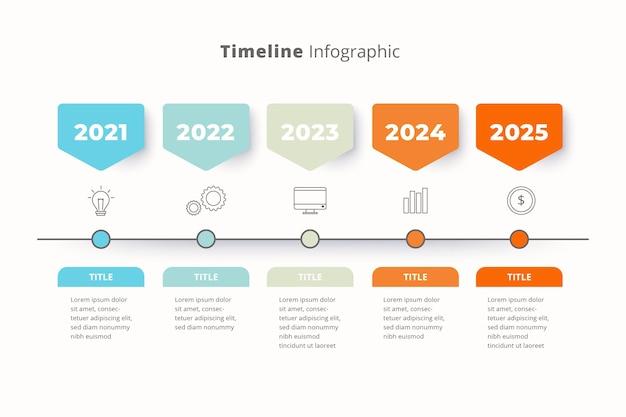 Platte tijdlijn infographic sjabloon