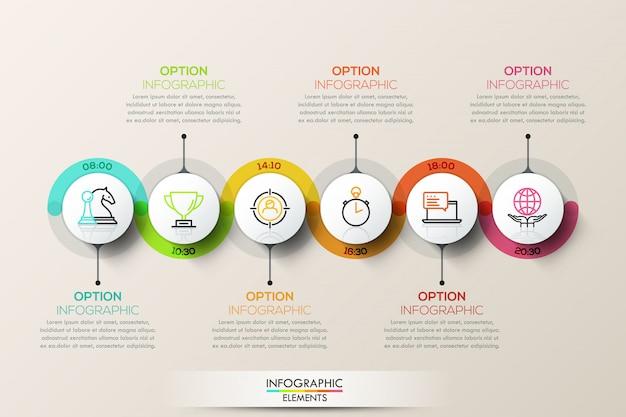 Platte tijdlijn infographic verbindingssjabloon met pictogrammen.