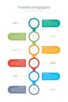 Platte tijdlijn infographic voor presentatie