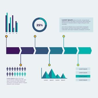 Platte tijdlijn infographic