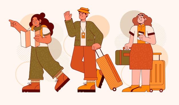 Platte toeristen illustratie