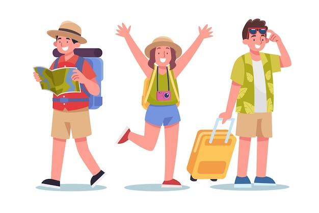 Platte toeristen klaar voor vakantie