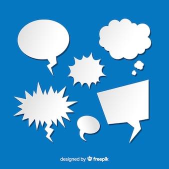 Platte toespraak bubble collectie op papier stijl blauwe achtergrond