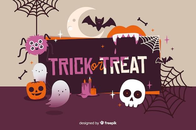 Platte trick or treat halloween achtergrond
