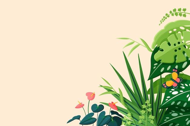 Platte tropische bladeren achtergrond