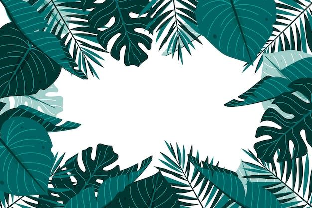 Platte tropische bladeren zomer achtergrond