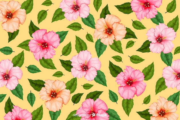 Platte tropische bloem patroon achtergrond