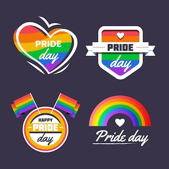 Platte trots dag badge-collectie