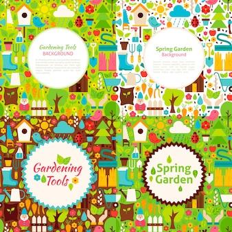 Platte tuin lente ansichtkaarten. vectorillustratie voor natuur tuinieren promotie.