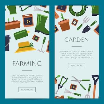 Platte tuinieren pictogrammen webbannersjablonen
