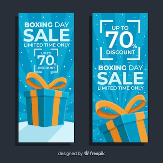 Platte tweede kerstdag verkoop banners in blauwe tinten
