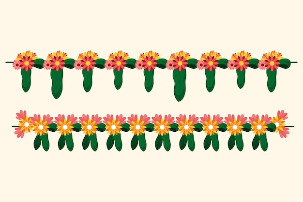 Platte ugadi garland illustratie