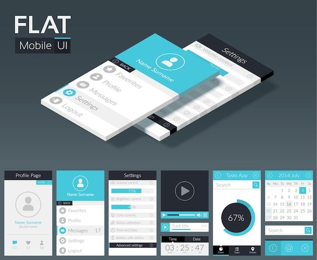 Platte ui mobiele ontwerpsjabloon met verschillende schermen knoppen en webelementen in lichte kleuren