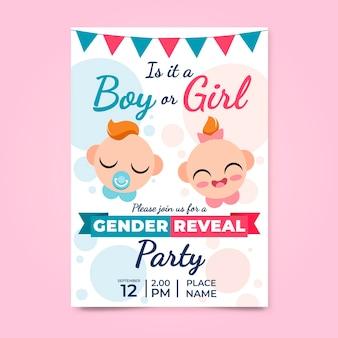 Platte uitnodiging voor het onthullen van geslacht