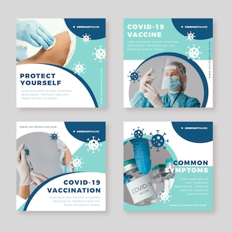 Platte vaccin instagram-berichten met foto's