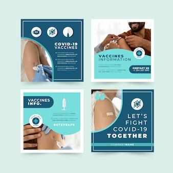 Platte vaccin instagram post set met foto's