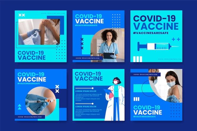 Platte vaccin instagram postverzameling met foto's