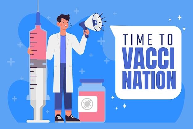 Platte vaccinatie campagne illustratie