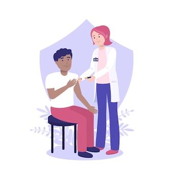 Platte vaccinatiecampagne illustratie