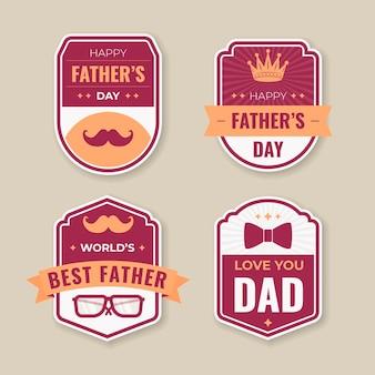 Platte vaderdag badge-collectie