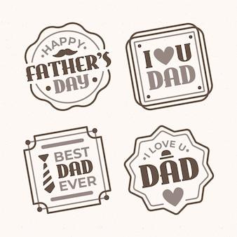 Platte vaderdag badges-collectie