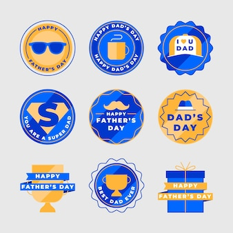 Platte vaderdag badges-collectie