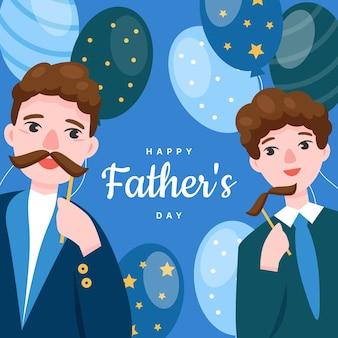 Platte vaderdag illustratie
