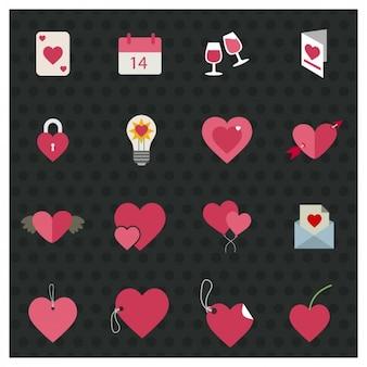 Platte valentijn elementen en labels