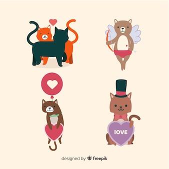 Platte valentijn kat set