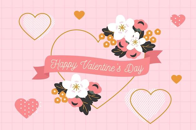 Platte valentijnsdag achtergrond groet