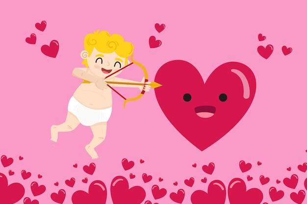 Platte valentijnsdag achtergrond met cupido