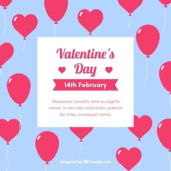 Platte valentijnsdag achtergrond met hartjes