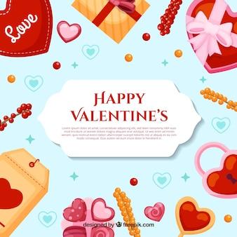 Platte valentijnsdag achtergrond met schattige illustratie