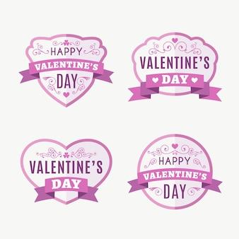 Platte valentijnsdag badges pack