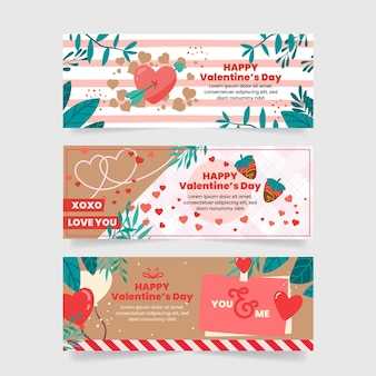 Platte valentijnsdag banners collectie