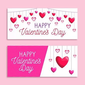Platte valentijnsdag banners ontwerpsjabloon