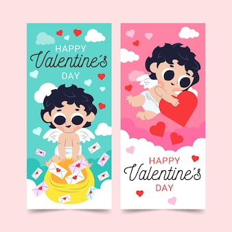 Platte valentijnsdag banners set