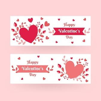 Platte valentijnsdag banners