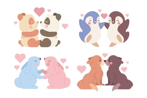 Platte valentijnsdag dieren paar