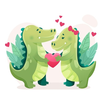 Platte valentijnsdag dierenpaar