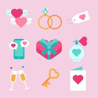 Platte valentijnsdag element collectie