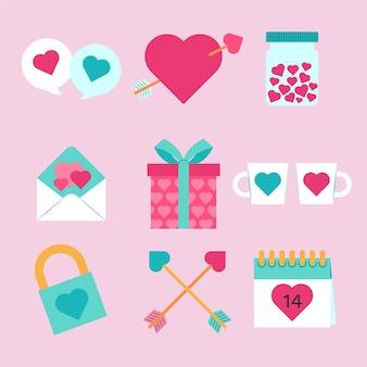 Platte valentijnsdag element ingesteld