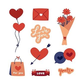 Platte valentijnsdag element pack
