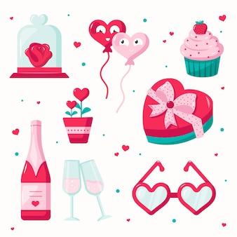 Platte valentijnsdag elementen instellen