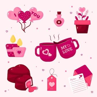 Platte valentijnsdag elementen