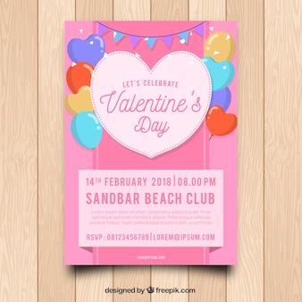 Platte valentijnsdag flyer / poster sjabloon