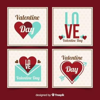 Platte valentijnsdag kaartcollectie
