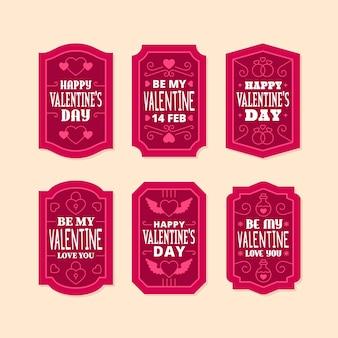 Platte valentijnsdag label collectie