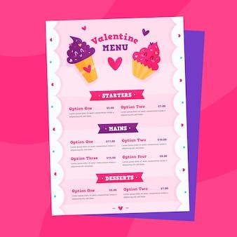 Platte valentijnsdag menusjabloon